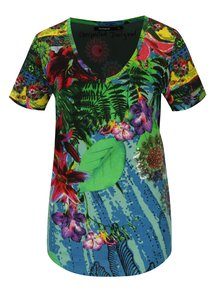 Tricou multicolor cu print tropical si paiete Desigual Logical song