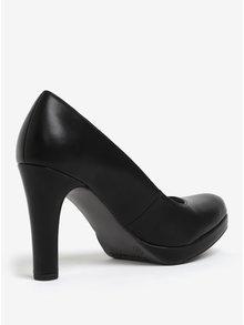 Pantofi negri cu toc intalt si aspect mat Tamaris