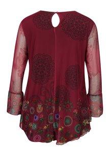 Bluza roz cu print floral si maneci clopot Desigual Chruse