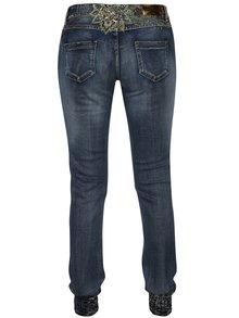 Modré slim džínys výšivkou Desigual Blue Lysiane