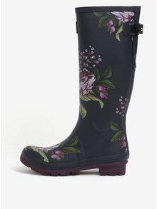 Tmavomodré vysoké kvetované gumáky Tom Joule