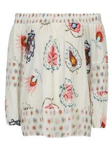 Bluza crem cu umeri expusi si print ornamental Desigual Minor