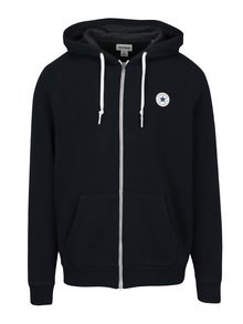 Tmavě modrá pánská mikina na zip s kapucí Converse Core Full