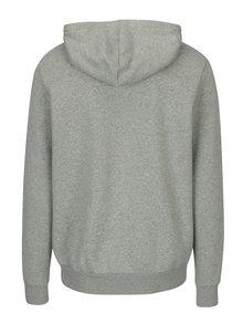Světle šedá pánská mikina na zip s kapucí Converse Core Full