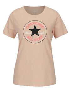 Světle růžové dámské tričko s potiskem Converse Core
