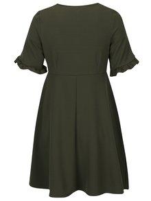 Khaki šaty s volány na rukávech Dorothy Perkins Curve