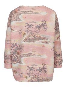 Bluza oversized roz pal cu print tropical si maneci 3/4 Scotch & Soda