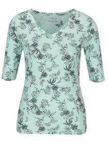 Mentolové květované tričko s véčkovým výstřihem M&Co