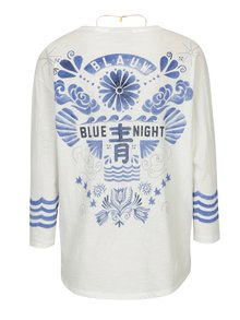 Bluza oversized crem cu print pe spate si colier auriu-  Scotch & Soda