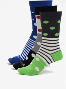 Sada tří párů unisex ponožek v béžové a zelené barvě a v dárkové krabičce Fusakle Guľkopásik