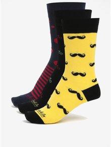 Sada troch párov unisex ponožiek v čiernej a žltej farbe v darčekovej krabičke Fusakle Bestseller