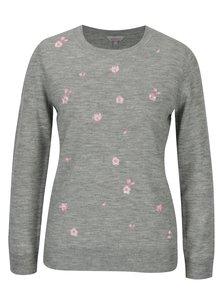 Svetlosivý sveter s výšivkou Dorothy Perkins Petite