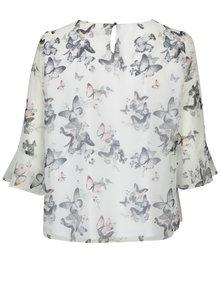 Bluza crem cu maneci 3/4 si print fluture  Billie & Blossom
