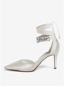 Pantofi din satin crem cu aplicatie decorativa  Dune London Diamond