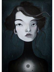 Krémovo-čierny autorský plagát Hlava 3 od Lény Brauner, 50 x 70 cm