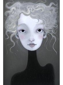 Krémovo-šedý autorský plakát Hlava 6 od Lény Brauner, 50x70 cm