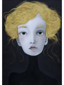 Žluto-černý autorský plakát Hlava 5 od Lény Brauner, 50x70 cm