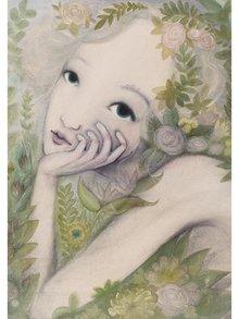 Zeleno-béžový autorský plagát Kvetinová víla od Lény Brauner, 50 x 70 cm