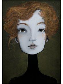 Krémovo-hnědý autorský plakát Hlava 4 od Lény Brauner, 50x70 cm
