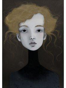 Krémovo-šedý autorský plakát Hlava 1 od Lény Brauner, 50x70 cm