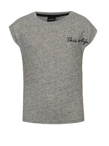Sivé melírované dievčenské tričko s prímesou ľanu LIMITED by name it Noisa