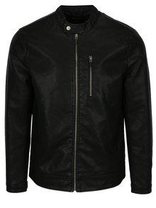 Čierna koženková bunda ONLY & SONS Kiefer