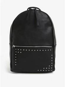 Čierny koženkový batoh s cvočkami Pieces Iano