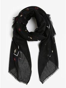 Černý šátek s drobnými motivy Pieces Iliana