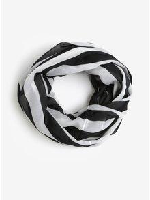Esarfa circulara cu dungi alb & negru - Pieces Strila