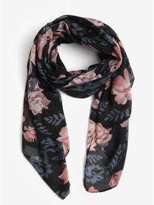 Modro-černý květovaný šátek Pieces Inata