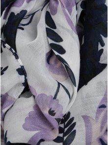 Esarfa lunga alba cu print floral - Pieces Inata