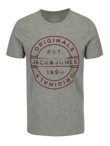 Šedé žíhané tričko s potiskem Jack & Jones Slack