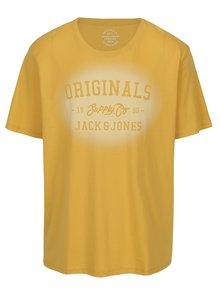 Tricou galben mustar cu print Jack & Jones Stencild