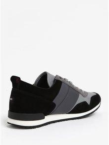 Černo-šedé pánské kožené tenisky Tommy Hilfiger