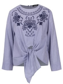 Bluza albastra cu dungi si broderie Haily´s Nora
