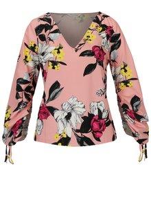 Bluza roz cu print floral si maneci balon ajustabile - Miss Selfridge