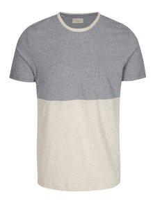 Béžovo-modré žíhané tričko Selected Homme Tim