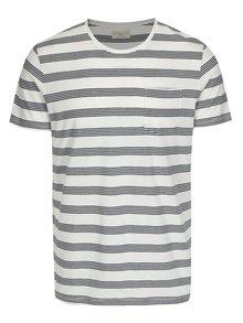 Černo-béžové pruhované tričko s kapsou Selected Homme Theo