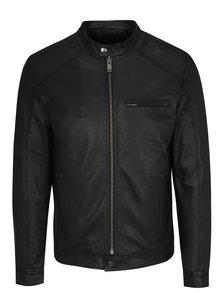 Černá kožená bunda Selected Homme Tylor