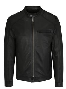 Čierna kožená bunda Selected Homme Tylor