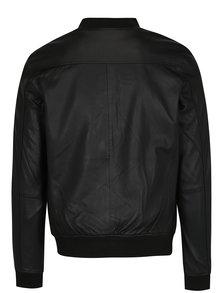 Jacheta bomber neagra din piele - Selected Homme Trunk