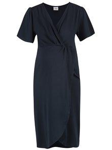 Tmavě modré těhotenské šaty s překládaným výstřihem Mama.licious Suri