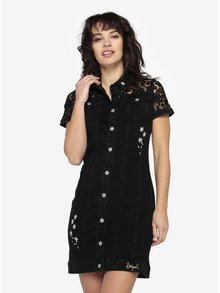 Čierne rifľové šaty s čipkovanými detailmi Desigual Gwen