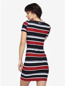 Červeno-modré pruhované šaty s véčkovým výstřihem Desigual Dreams