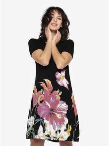 Čierne kvetované šaty s krátkym rukávom Desigual Aristo
