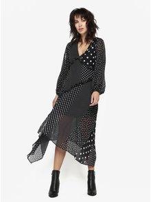 Černé puntíkované šaty s volány Miss Selfridge