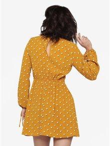 Horčicové vzorované šaty s dlhým rukávom Miss Selfridge