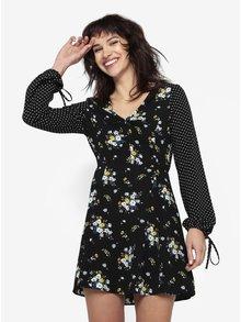 Rochie neagra cu print floral si buline Miss Selfridge