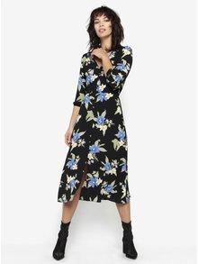 Rochie neagra cu print floral si maneci 3/4 Miss Selfridge