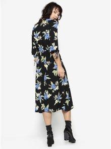 Čierne kvetované šaty s dlhým rukávom a rozparkom Miss Selfridge